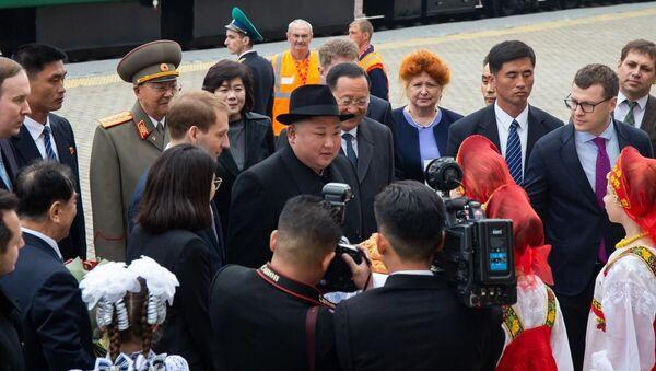 Lídr KLDR Kim Čong-un na stanici Khasan v Přímořském kraji - Sputnik Česká republika