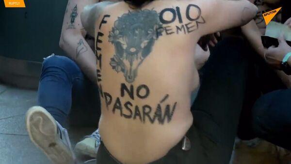 """""""Toto není vlastenectví, je to fašismus"""": Ženy hnutí Femen protestují ve Španělsku - Sputnik Česká republika"""