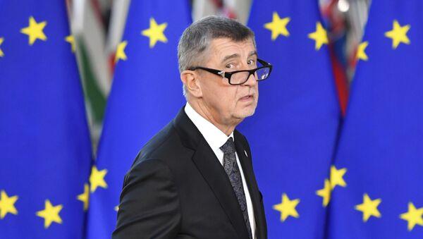 Český premiér Andrej Babiš na pozadí vlajky EU - Sputnik Česká republika