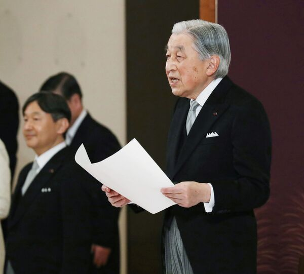 Císař Japonska Akihito během rituálu Taiirei-Seiden-no-gi při slavnostním odříkání v císařském paláci v Tokiu, Japonsko - Sputnik Česká republika
