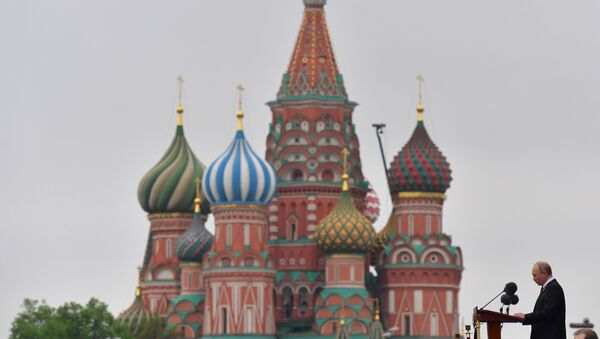 Projev ruského prezidenta Vladimira Putina na přehlídce vítězství na Rudém náměstí v Moskvě - Sputnik Česká republika